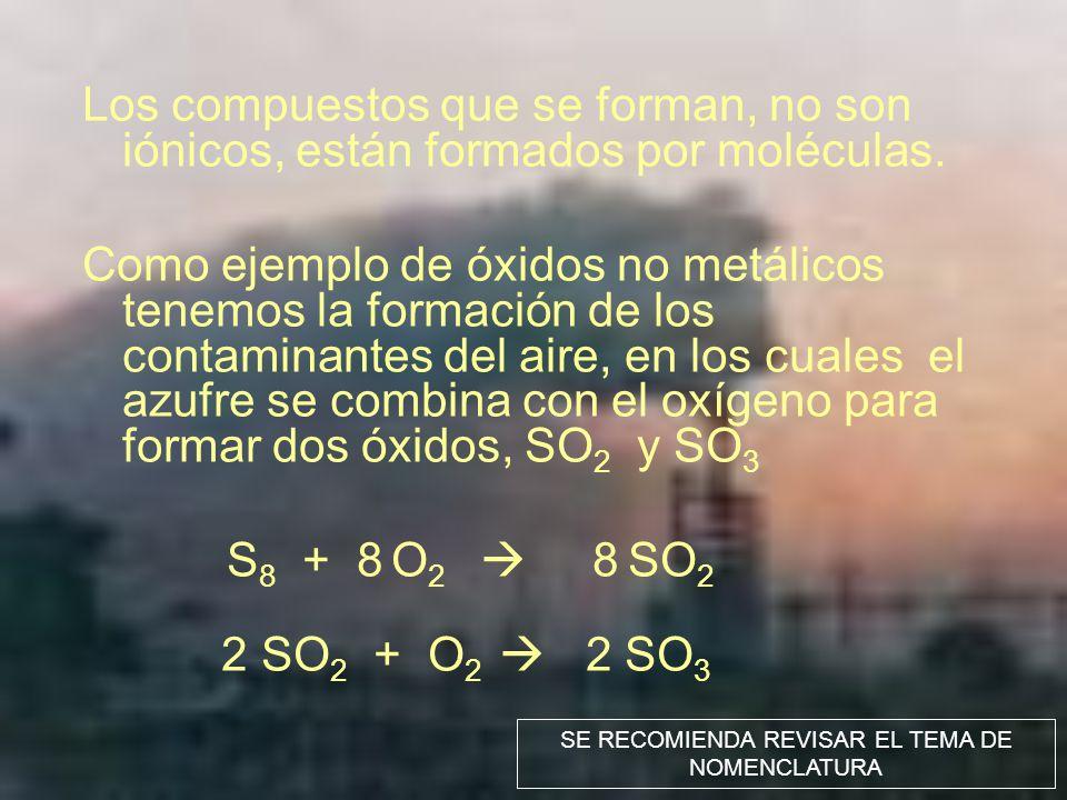 Los compuestos que se forman, no son iónicos, están formados por moléculas. Como ejemplo de óxidos no metálicos tenemos la formación de los contaminan