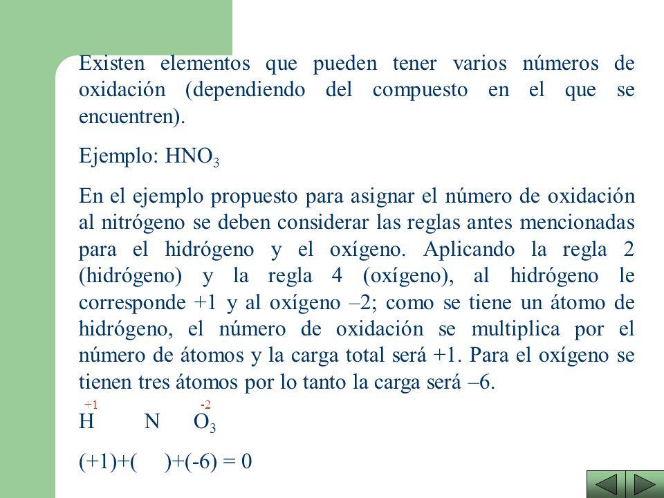 5. Al formar compuestos binarios los elementos del grupo VI (S, Se y Te) tienen un número de oxidación de –2, excepto cuando están combinados con oxíg