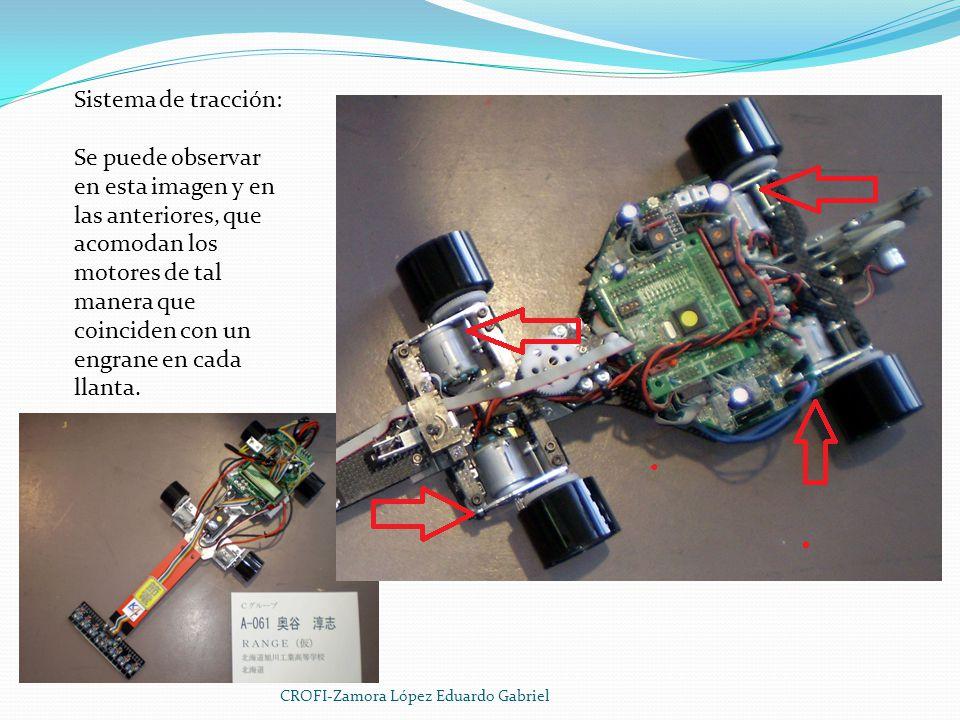 Sistema de tracción: Se puede observar en esta imagen y en las anteriores, que acomodan los motores de tal manera que coinciden con un engrane en cada llanta.