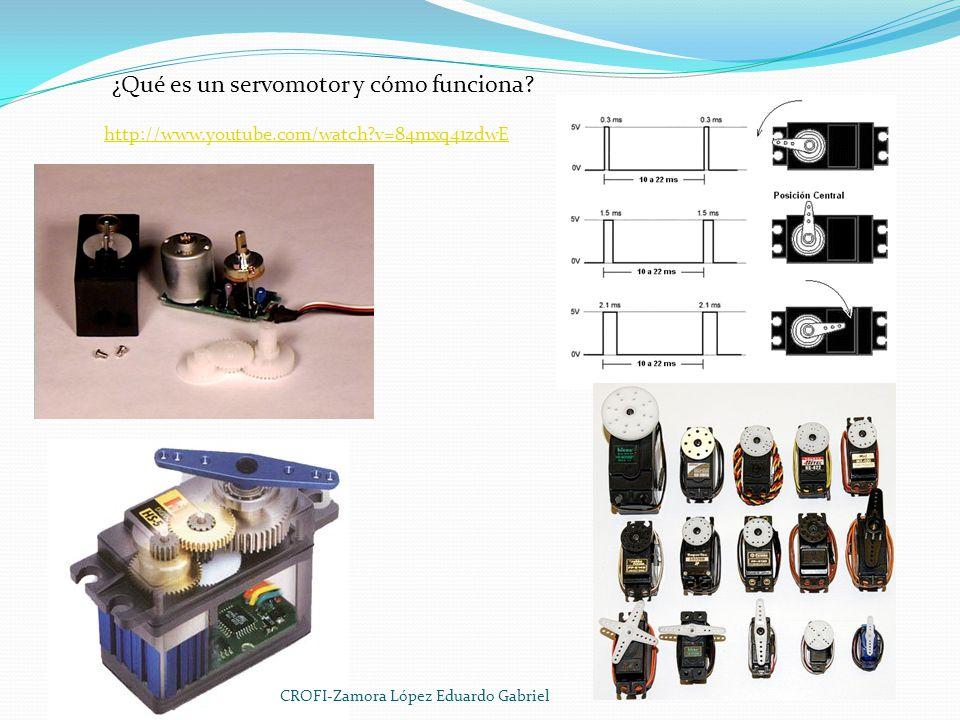 http://www.youtube.com/watch?v=84mxq41zdwE ¿Qué es un servomotor y cómo funciona? CROFI-Zamora López Eduardo Gabriel