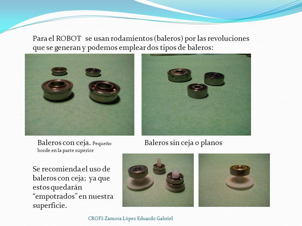 Para el ROBOT se usan rodamientos (baleros) por las revoluciones que se generan y podemos emplear dos tipos de baleros: Baleros con ceja.