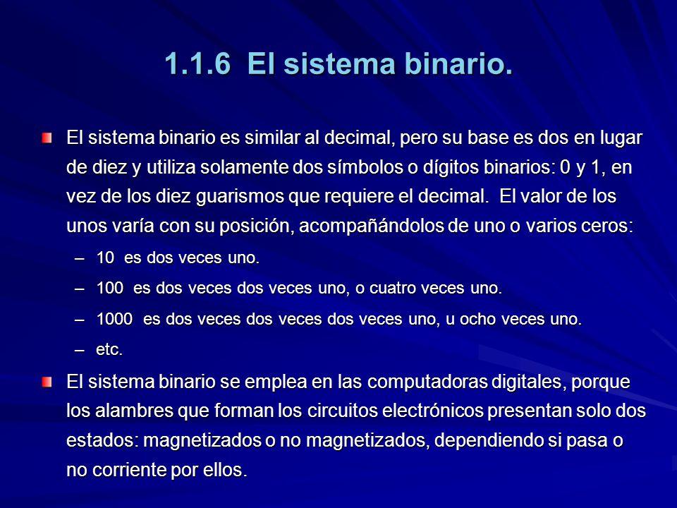 1.1.6 El sistema binario. El sistema binario es similar al decimal, pero su base es dos en lugar de diez y utiliza solamente dos símbolos o dígitos bi