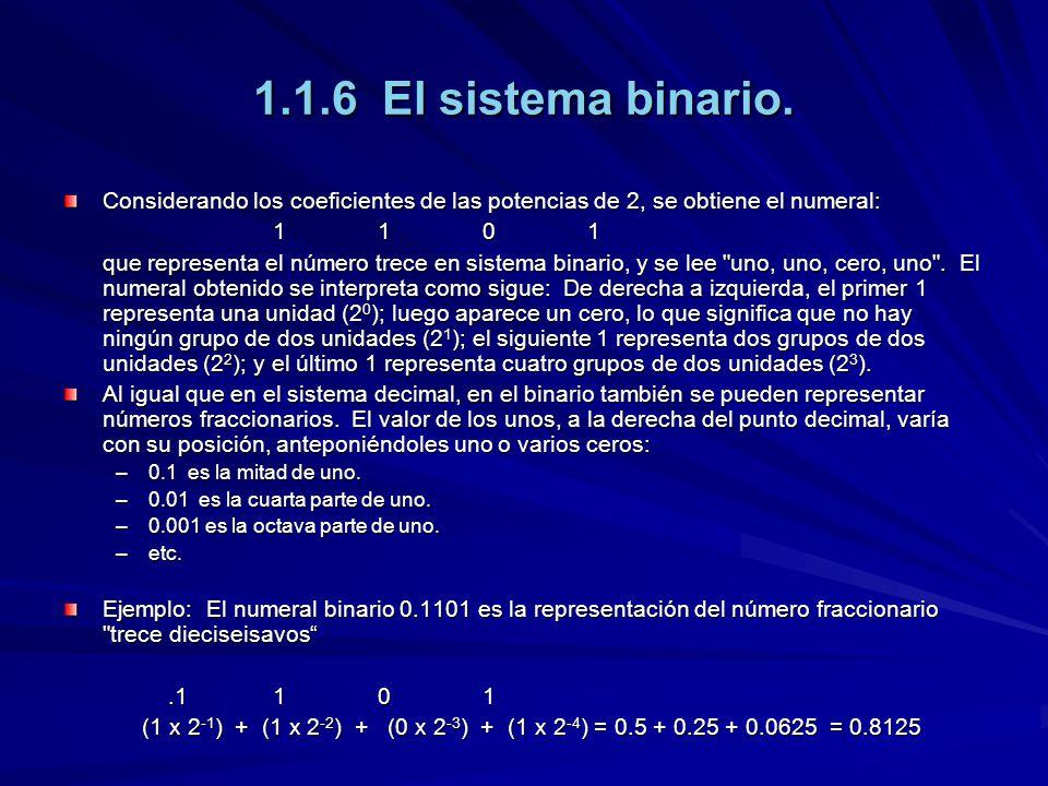 1.1.6 El sistema binario. Considerando los coeficientes de las potencias de 2, se obtiene el numeral: 1101110111011101 que representa el número trece