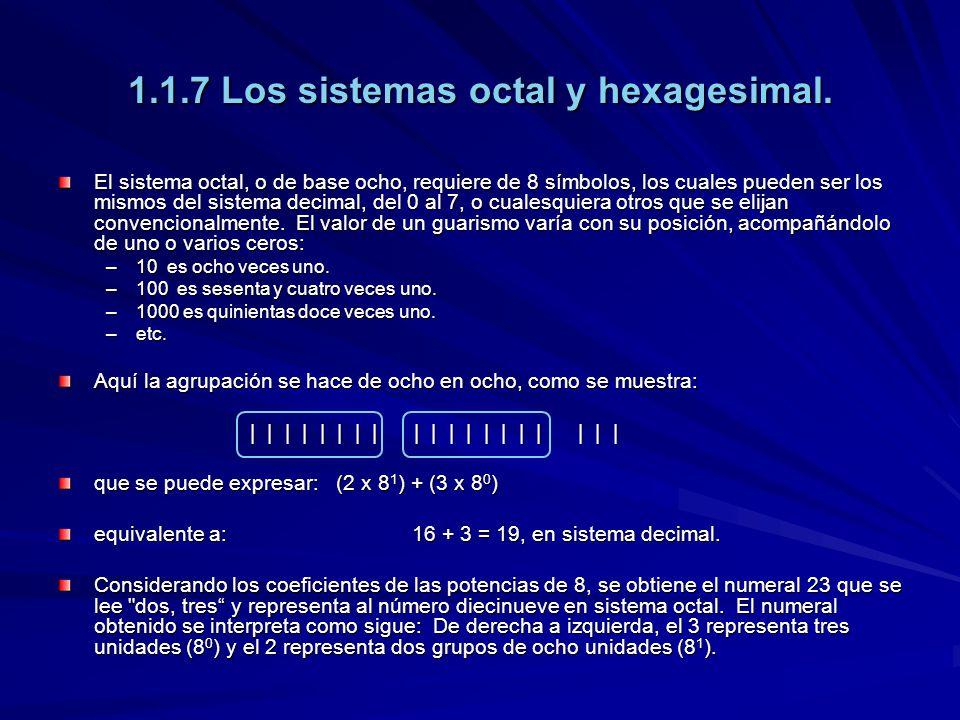1.1.7 Los sistemas octal y hexagesimal. El sistema octal, o de base ocho, requiere de 8 símbolos, los cuales pueden ser los mismos del sistema decimal