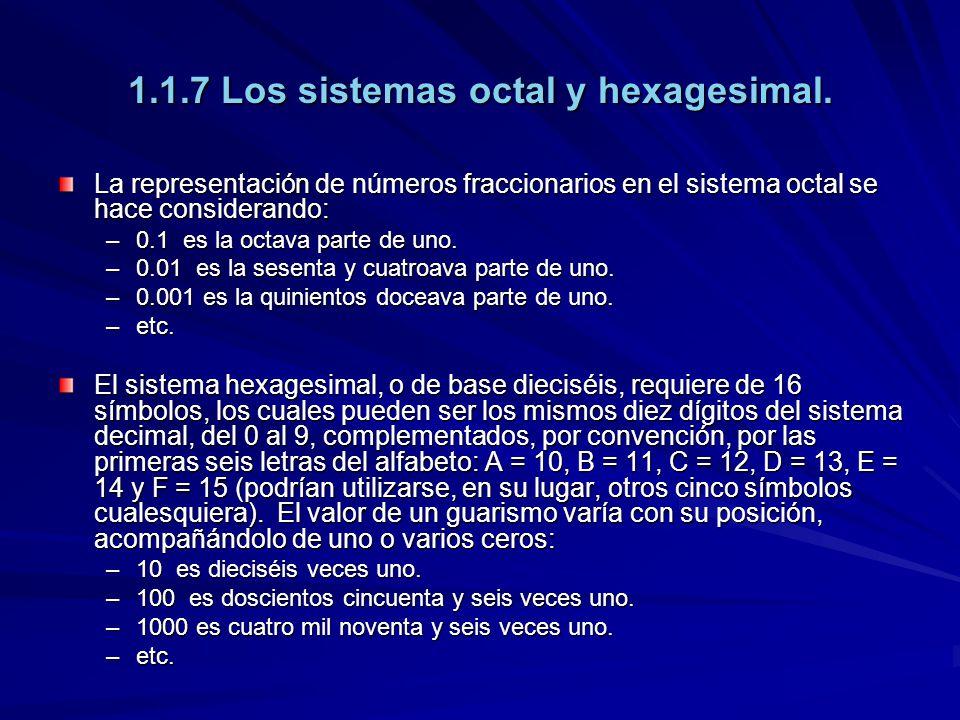 1.1.7 Los sistemas octal y hexagesimal. La representación de números fraccionarios en el sistema octal se hace considerando: –0.1 es la octava parte d
