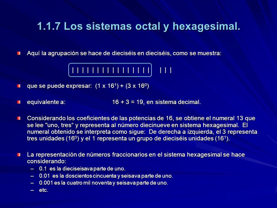 1.1.7 Los sistemas octal y hexagesimal. Aquí la agrupación se hace de dieciséis en dieciséis, como se muestra: | | | | | | | | | | | | | | | | | | | q