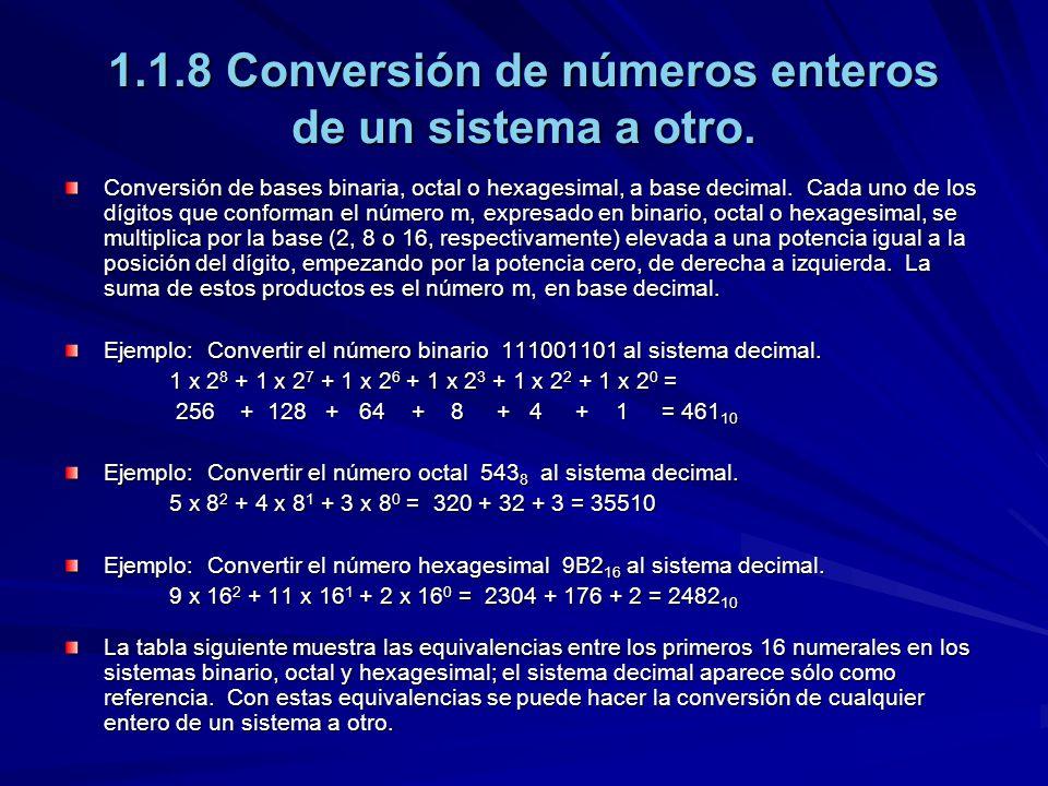 1.1.8 Conversión de números enteros de un sistema a otro. Conversión de bases binaria, octal o hexagesimal, a base decimal. Cada uno de los dígitos qu