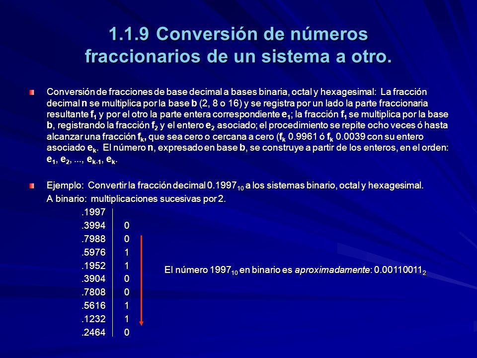 1.1.9Conversión de números fraccionarios de un sistema a otro. Conversión de fracciones de base decimal a bases binaria, octal y hexagesimal: La fracc