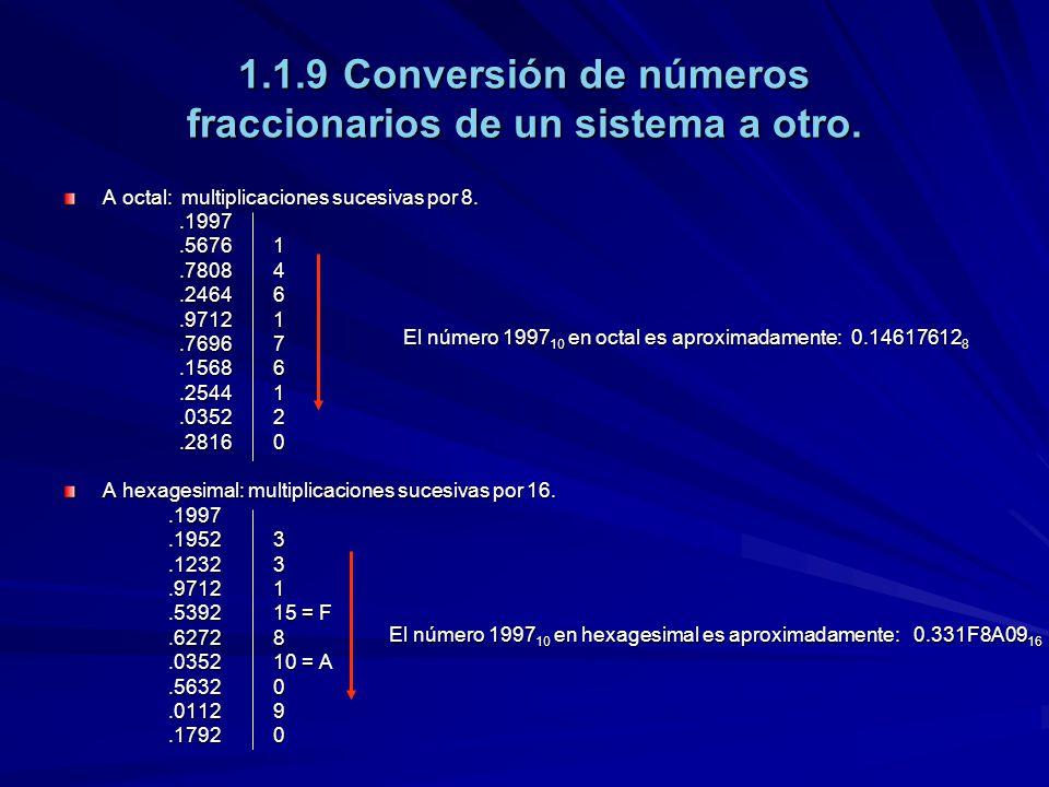 1.1.9Conversión de números fraccionarios de un sistema a otro. A octal: multiplicaciones sucesivas por 8..1997.1997.56761.56761.78084.78084.24646.2464