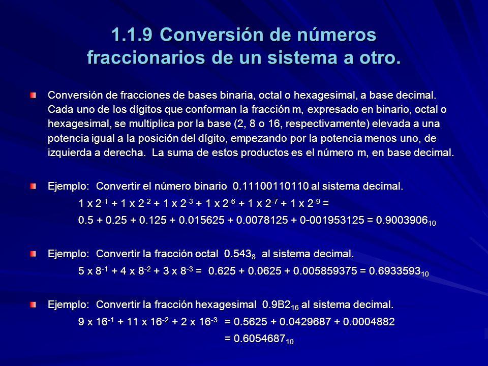 1.1.9Conversión de números fraccionarios de un sistema a otro. Conversión de fracciones de bases binaria, octal o hexagesimal, a base decimal. Cada un