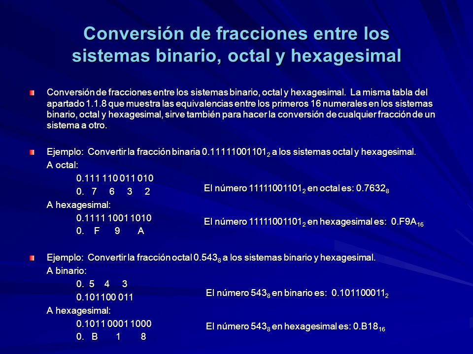 Conversión de fracciones entre los sistemas binario, octal y hexagesimal Conversión de fracciones entre los sistemas binario, octal y hexagesimal. La
