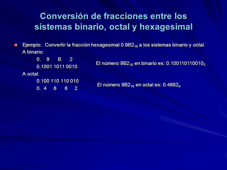 Conversión de fracciones entre los sistemas binario, octal y hexagesimal Ejemplo: Convertir la fracción hexagesimal 0.9B2 16 a los sistemas binario y