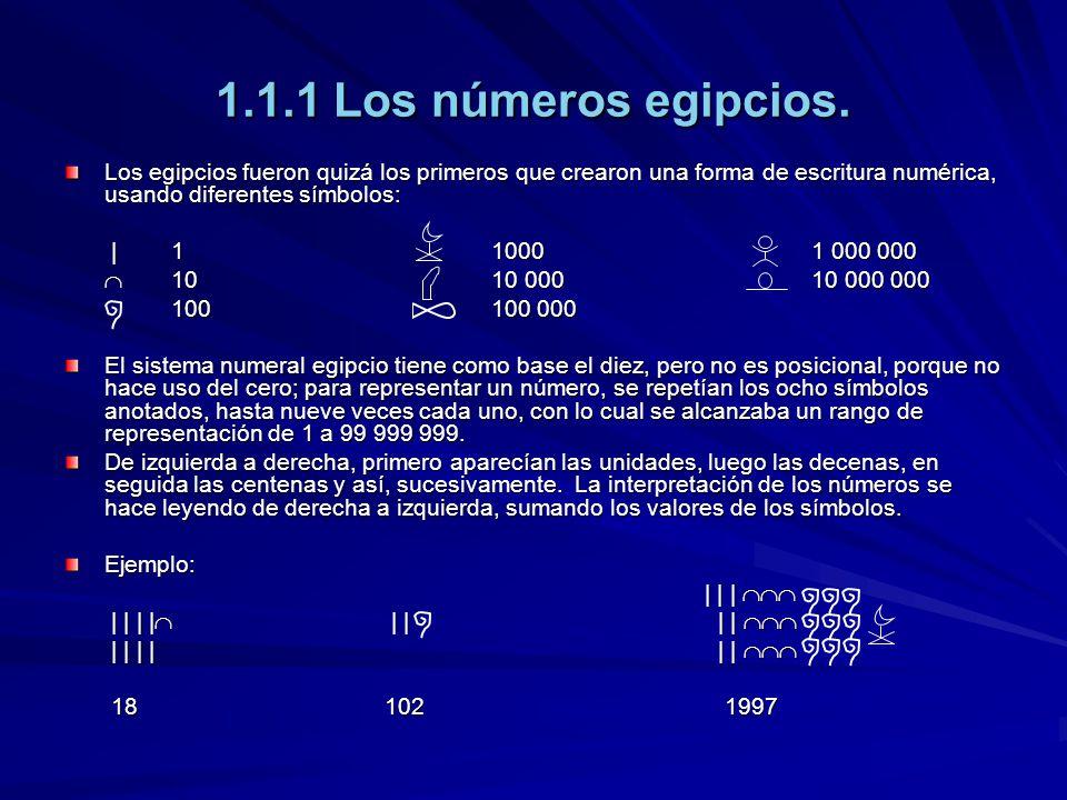 1.1.1 Los números egipcios. Los egipcios fueron quizá los primeros que crearon una forma de escritura numérica, usando diferentes símbolos: |110001 00