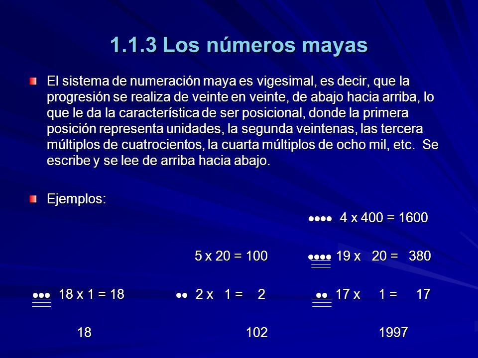1.1.3 Los números mayas El sistema de numeración maya es vigesimal, es decir, que la progresión se realiza de veinte en veinte, de abajo hacia arriba,