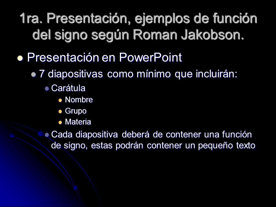 1ra. Presentación, ejemplos de función del signo según Roman Jakobson.