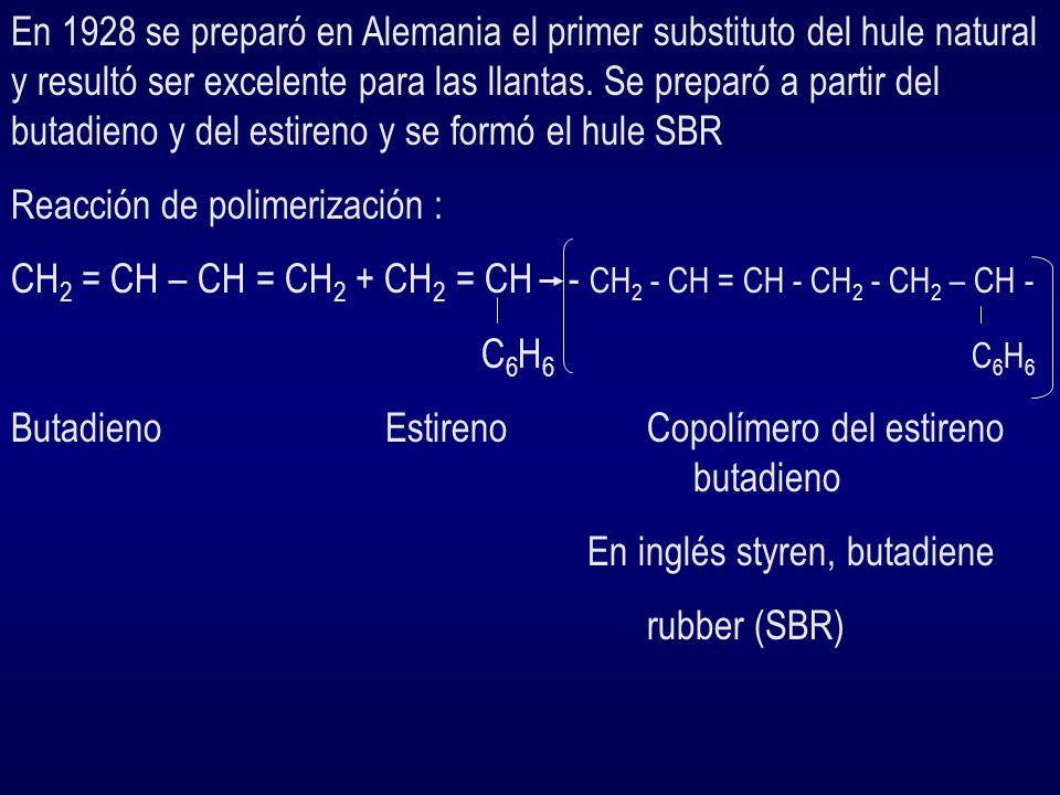 Desde 1826 se sabía que el producto de destilación destructiva del hule era el isopreno.