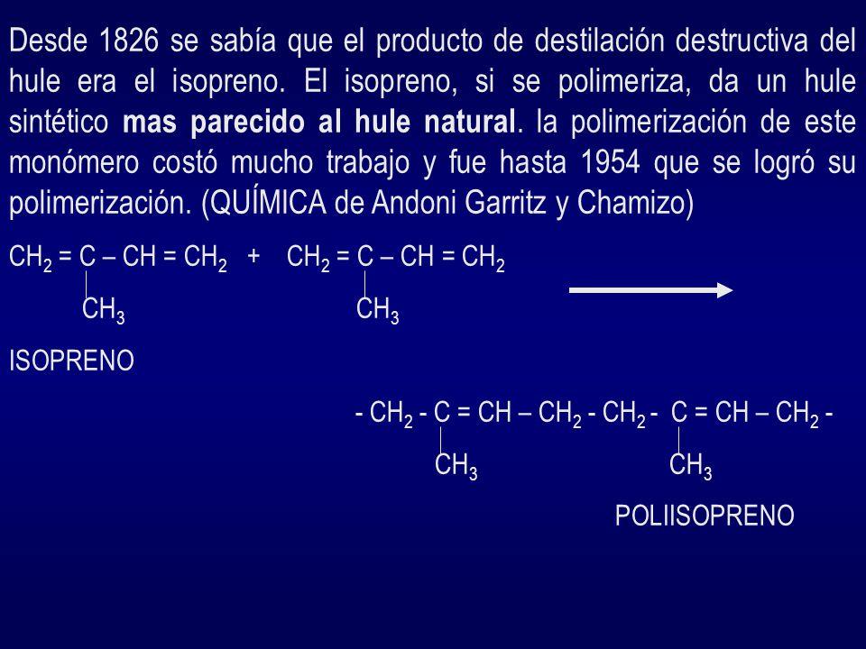 EL POLIESTIRENO, YA VISTO ANTERIORMENTE, ES UNA RESINA TERMOPLÁSTICA Reacción de polimerización : CH2 = CH + CH2 = CH-- CH2 - CH - CH2 - CH -- C6H6 C6H6 C6H6 C6H6 ESTIRENOESTIRENOPOLIESTIRENO USOS : CONSTRUCCIÓN, PRODUCTOS DESECHABLES