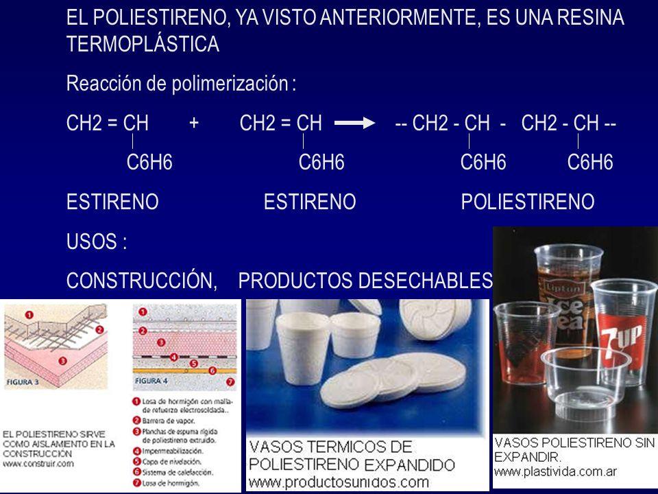 Otras resinas importantes son : La BAKELITA preparada a partir del fenol + formol, por lo que además es un copolímero.