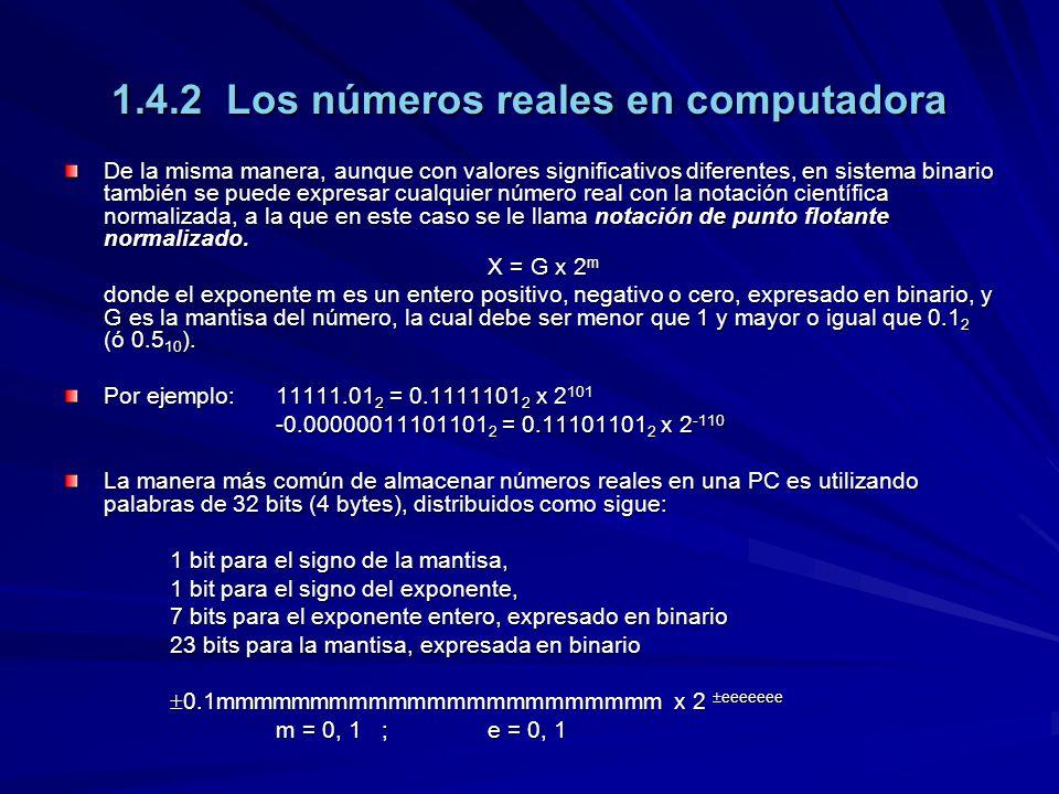 1.4.2 Los números reales en computadora De la misma manera, aunque con valores significativos diferentes, en sistema binario también se puede expresar cualquier número real con la notación científica normalizada, a la que en este caso se le llama notación de punto flotante normalizado.