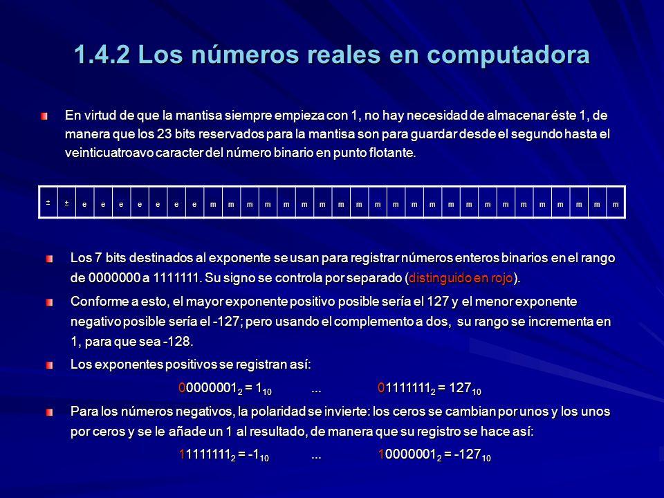1.4.2 Los números reales en computadora En virtud de que la mantisa siempre empieza con 1, no hay necesidad de almacenar éste 1, de manera que los 23 bits reservados para la mantisa son para guardar desde el segundo hasta el veinticuatroavo caracter del número binario en punto flotante.