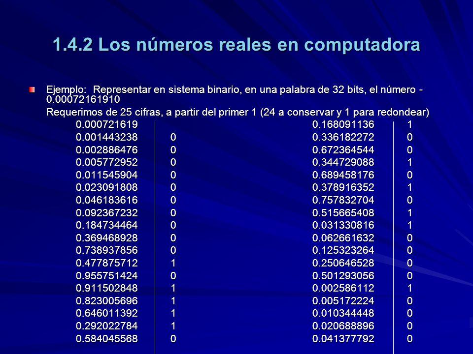 1.4.2 Los números reales en computadora Ejemplo: Representar en sistema binario, en una palabra de 32 bits, el número - 0.00072161910 Requerimos de 25