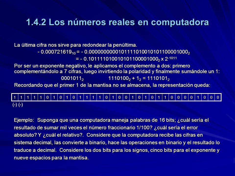 1.4.2 Los números reales en computadora La última cifra nos sirve para redondear la penúltima. - 0.000721619 10 = - 0.00000000001011110100101011000010