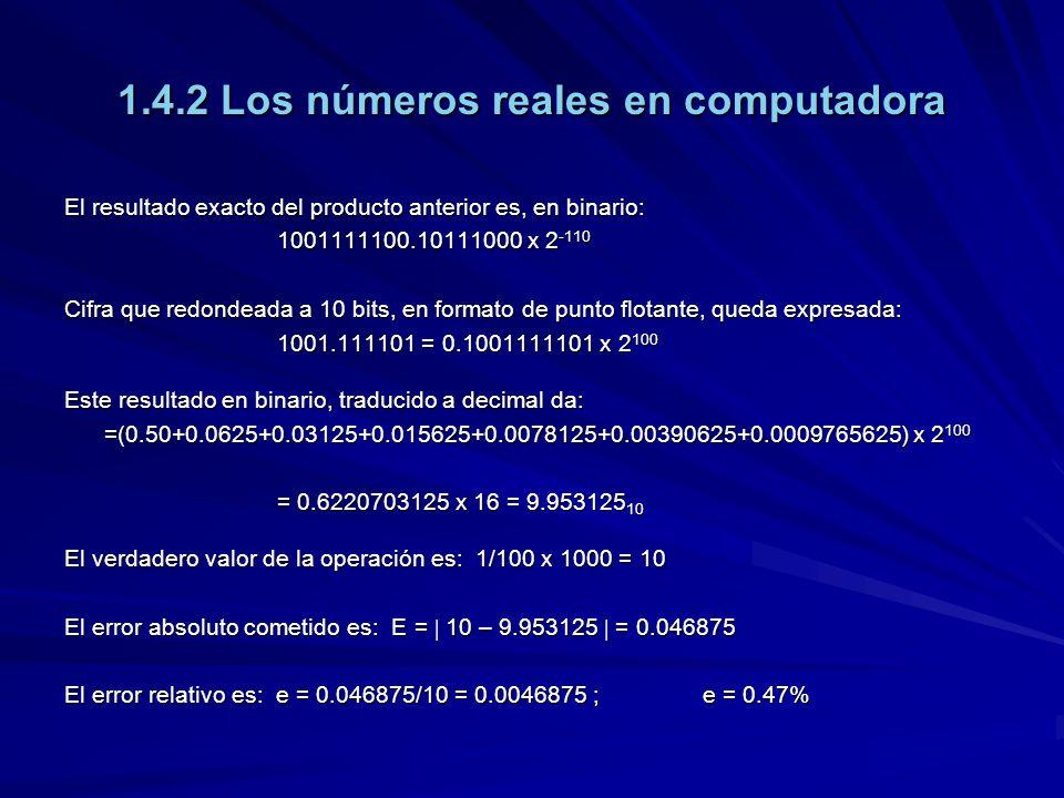 1.4.2 Los números reales en computadora El resultado exacto del producto anterior es, en binario: 1001111100.10111000 x 2 -110 Cifra que redondeada a 10 bits, en formato de punto flotante, queda expresada: 1001.111101 = 0.1001111101 x 2 100 Este resultado en binario, traducido a decimal da: =(0.50+0.0625+0.03125+0.015625+0.0078125+0.00390625+0.0009765625) x 2 100 = 0.6220703125 x 16 = 9.953125 10 El verdadero valor de la operación es: 1/100 x 1000 = 10 El error absoluto cometido es: E = 10 – 9.953125 = 0.046875 El error relativo es: e = 0.046875/10 = 0.0046875 ;e = 0.47%