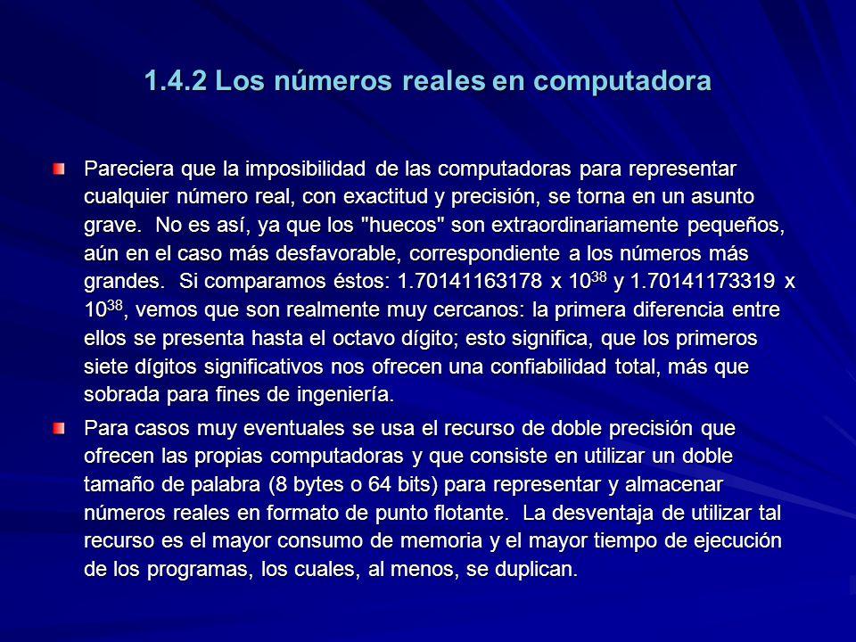 1.4.2 Los números reales en computadora Pareciera que la imposibilidad de las computadoras para representar cualquier número real, con exactitud y precisión, se torna en un asunto grave.