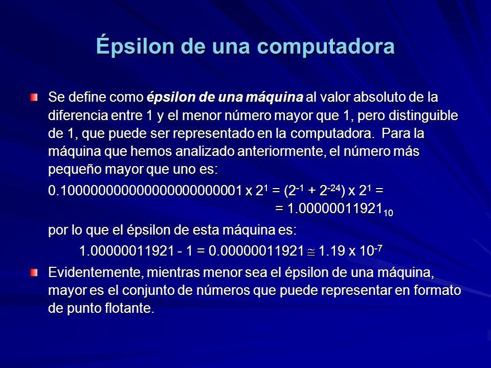 Épsilon de una computadora Se define como épsilon de una máquina al valor absoluto de la diferencia entre 1 y el menor número mayor que 1, pero distinguible de 1, que puede ser representado en la computadora.