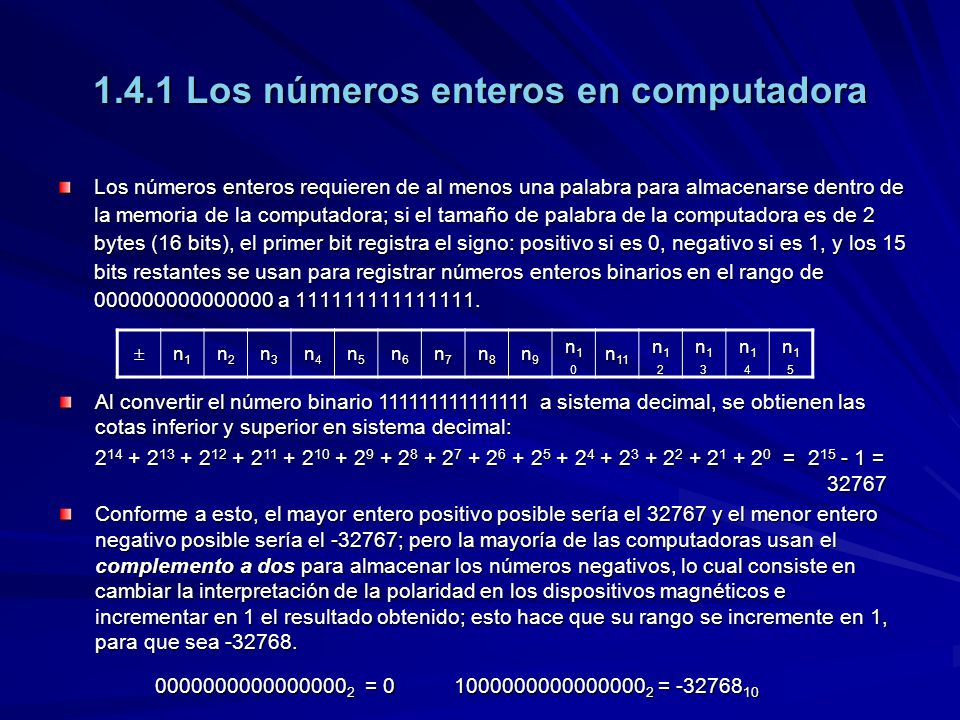 1.4.1 Los números enteros en computadora Los números enteros requieren de al menos una palabra para almacenarse dentro de la memoria de la computadora; si el tamaño de palabra de la computadora es de 2 bytes (16 bits), el primer bit registra el signo: positivo si es 0, negativo si es 1, y los 15 bits restantes se usan para registrar números enteros binarios en el rango de 000000000000000 a 111111111111111.