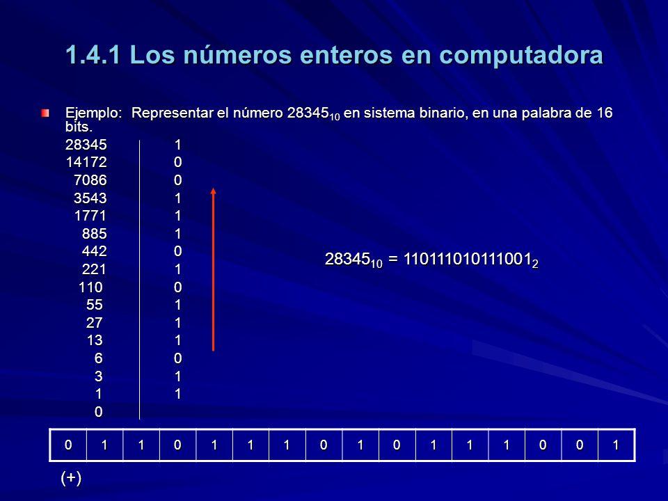 1.4.1 Los números enteros en computadora Ejemplo: Representar el número 28345 10 en sistema binario, en una palabra de 16 bits. 283451 141720 70860 70