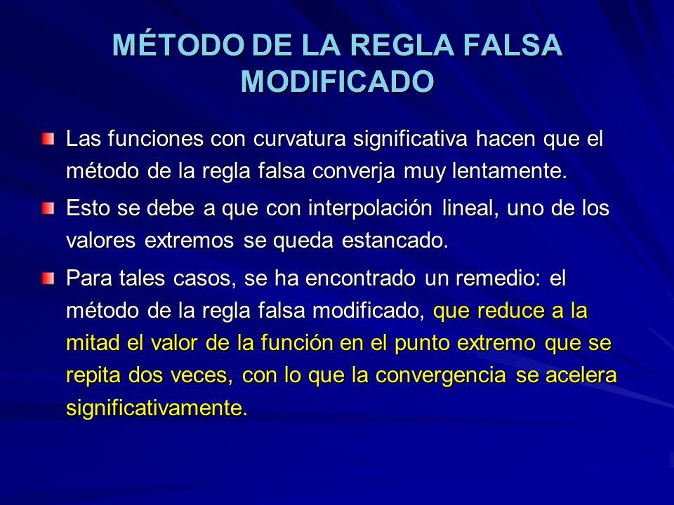 MÉTODO DE LA REGLA FALSA MODIFICADO Las funciones con curvatura significativa hacen que el método de la regla falsa converja muy lentamente. Esto se d