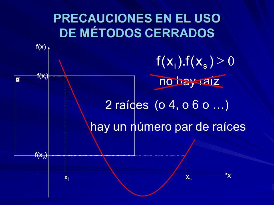 PRECAUCIONES EN EL USO DE MÉTODOS CERRADOS xixi xsxs f(x) x f(x i ) f(x s ) 0 )x(f).x(f si 2 raíces (o 4, o 6 o …) no hay raíz hay un número par de ra