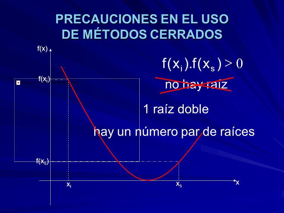 PRECAUCIONES EN EL USO DE MÉTODOS CERRADOS xixi xsxs f(x) x f(x i ) f(x s ) 0 )x(f).x(f si 1 raíz doble no hay raíz hay un número par de raíces
