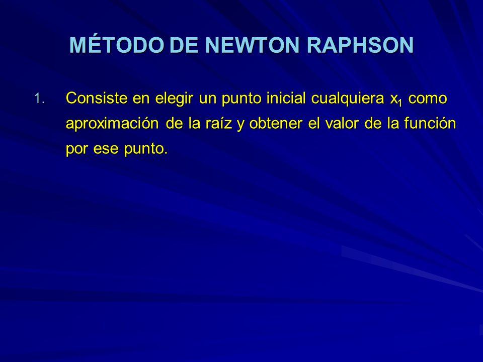 MÉTODO DE NEWTON RAPHSON 1. Consiste en elegir un punto inicial cualquiera x 1 como aproximación de la raíz y obtener el valor de la función por ese p