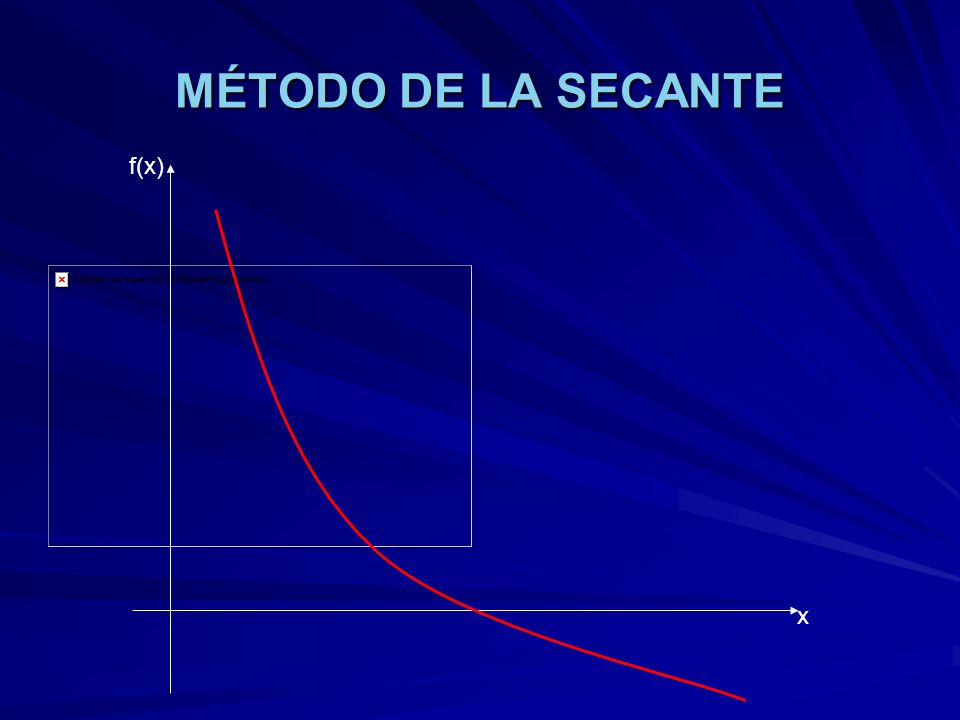 MÉTODO DE LA SECANTE f(x) x