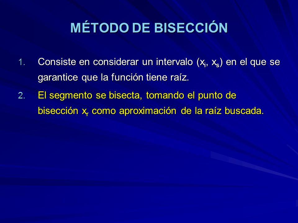 MÉTODO DE BISECCIÓN 1. Consiste en considerar un intervalo (x i, x s ) en el que se garantice que la función tiene raíz. 2. El segmento se bisecta, to