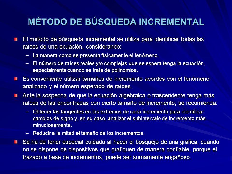 MÉTODO DE BÚSQUEDA INCREMENTAL Trazado con incrementos de 0.50, parece que hay solo 2 raíces
