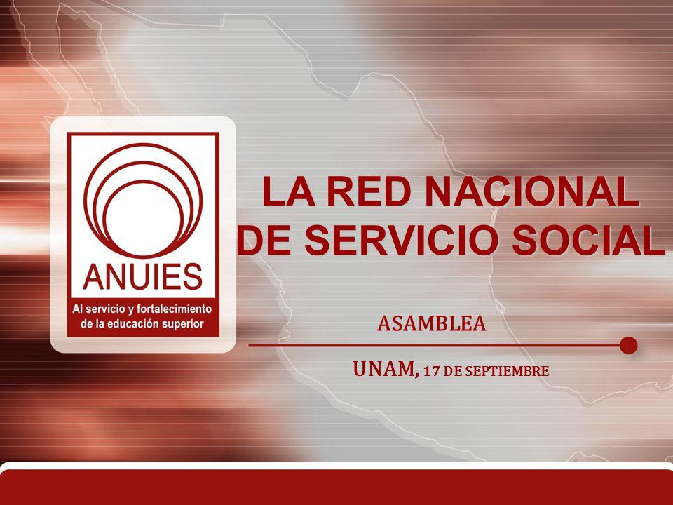 Red Nacional de Servicio Social (Marcos de referencia) Consolidación y Avance de la Educación Superior en México, 2006 Programa Nacional de Extensión de Extensión de los Servicios, Vinculación y Difusión de la cultura, 2011 Es un reto la creación de la Red Nacional
