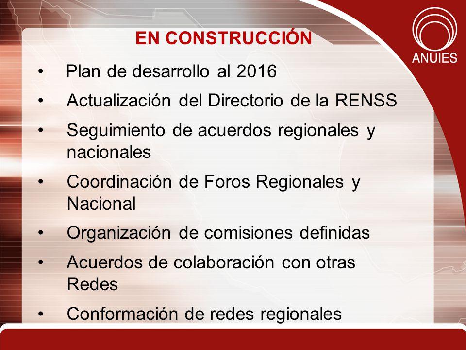 EN CONSTRUCCIÓN Plan de desarrollo al 2016 Actualización del Directorio de la RENSS Seguimiento de acuerdos regionales y nacionales Coordinación de Foros Regionales y Nacional Organización de comisiones definidas Acuerdos de colaboración con otras Redes Conformación de redes regionales