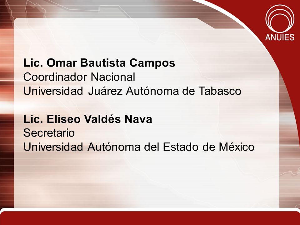 Lic. Omar Bautista Campos Coordinador Nacional Universidad Juárez Autónoma de Tabasco Lic.
