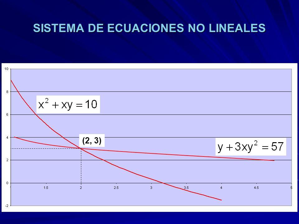 SISTEMA DE ECUACIONES NO LINEALES (2, 3)