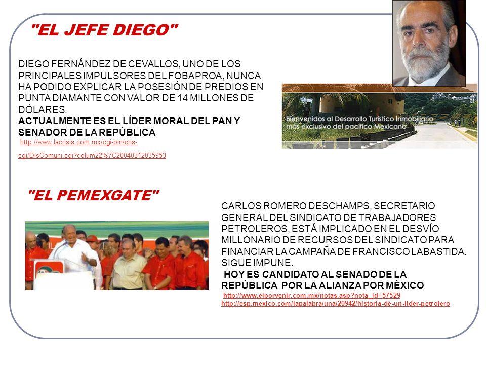 EL JEFE DIEGO DIEGO FERNÁNDEZ DE CEVALLOS, UNO DE LOS PRINCIPALES IMPULSORES DEL FOBAPROA, NUNCA HA PODIDO EXPLICAR LA POSESIÓN DE PREDIOS EN PUNTA DIAMANTE CON VALOR DE 14 MILLONES DE DÓLARES.