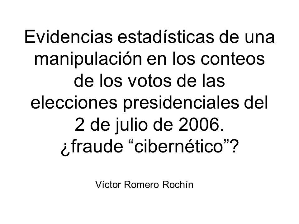 Evidencias estadísticas de una manipulación en los conteos de los votos de las elecciones presidenciales del 2 de julio de 2006.