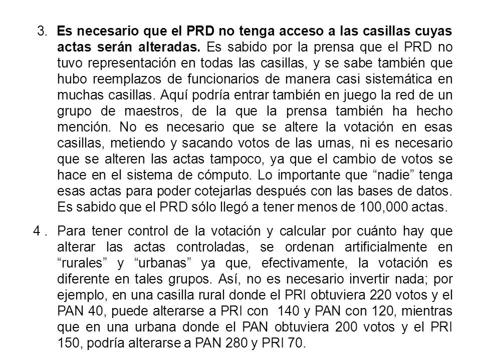 3. Es necesario que el PRD no tenga acceso a las casillas cuyas actas serán alteradas. Es sabido por la prensa que el PRD no tuvo representación en to