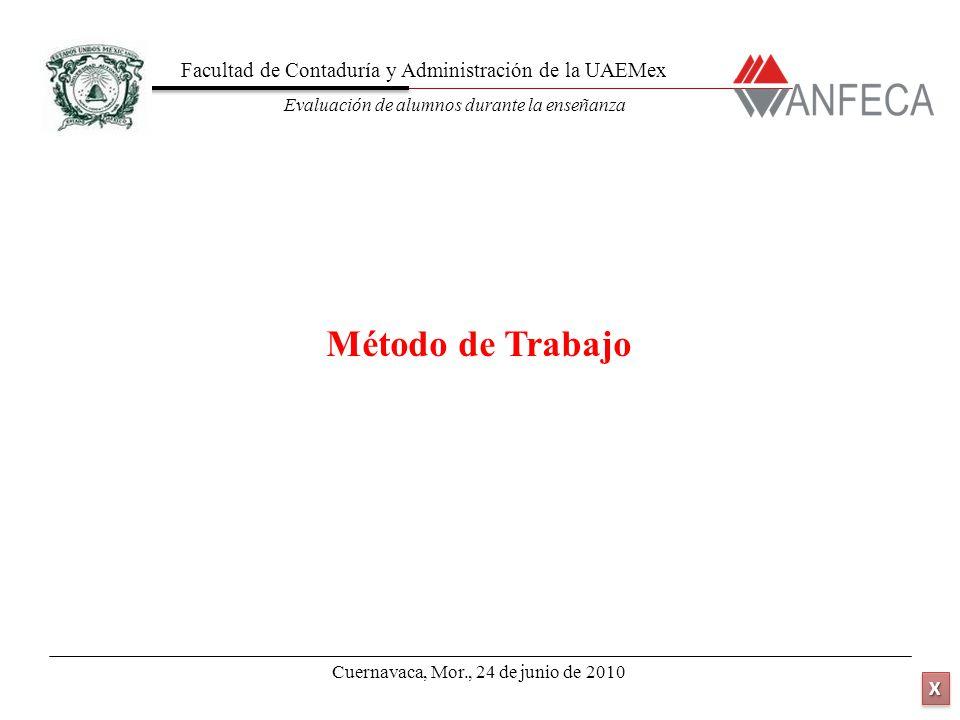 Facultad de Contaduría y Administración de la UAEMex Evaluación de alumnos durante la enseñanza XXXX XXXX Método de Trabajo Cuernavaca, Mor., 24 de junio de 2010