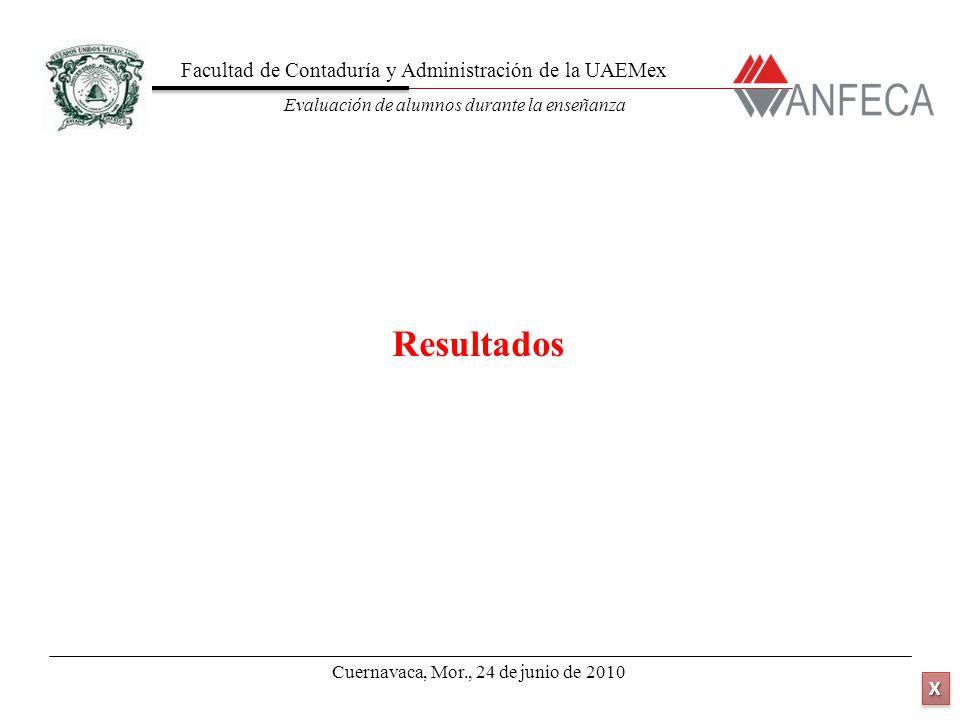 Facultad de Contaduría y Administración de la UAEMex Evaluación de alumnos durante la enseñanza XXXX XXXX Resultados Cuernavaca, Mor., 24 de junio de 2010