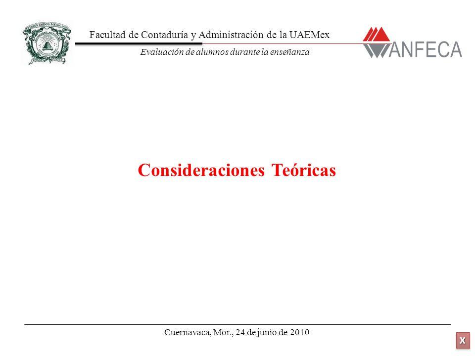 Facultad de Contaduría y Administración de la UAEMex Evaluación de alumnos durante la enseñanza XXXX XXXX Consideraciones Teóricas Cuernavaca, Mor., 2