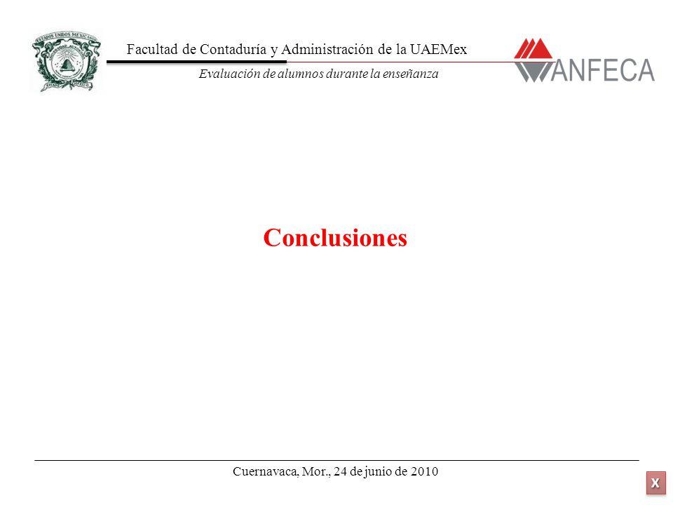 Facultad de Contaduría y Administración de la UAEMex Evaluación de alumnos durante la enseñanza XXXX XXXX Conclusiones Cuernavaca, Mor., 24 de junio de 2010