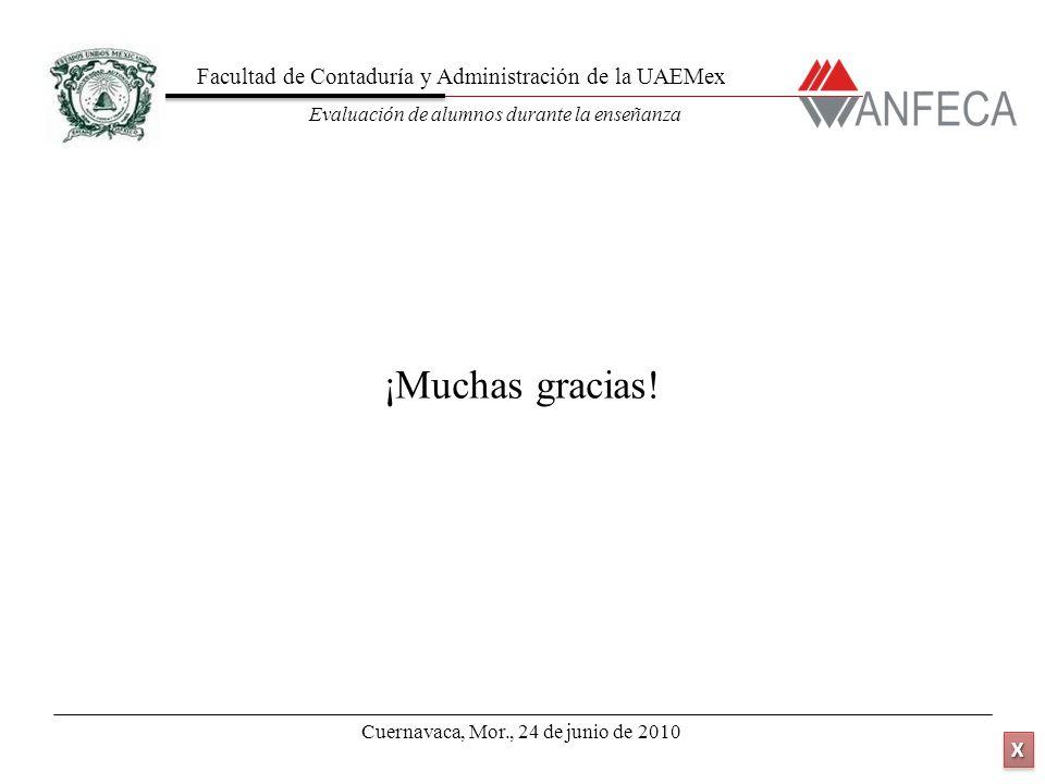 Facultad de Contaduría y Administración de la UAEMex Evaluación de alumnos durante la enseñanza XXXX XXXX ¡Muchas gracias! Cuernavaca, Mor., 24 de jun